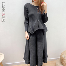 Pullover Skirt Top Beige-Suit Pleated Green Fashion Casual Long-Sleeved LANMREM Tide