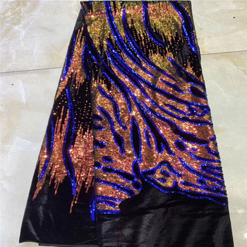 Embroidery gold Purple Sequins Lace Fabric Velvet Lace Fabrics for Wedding Party African French Lace Nigerian Tulle Lace Fabric