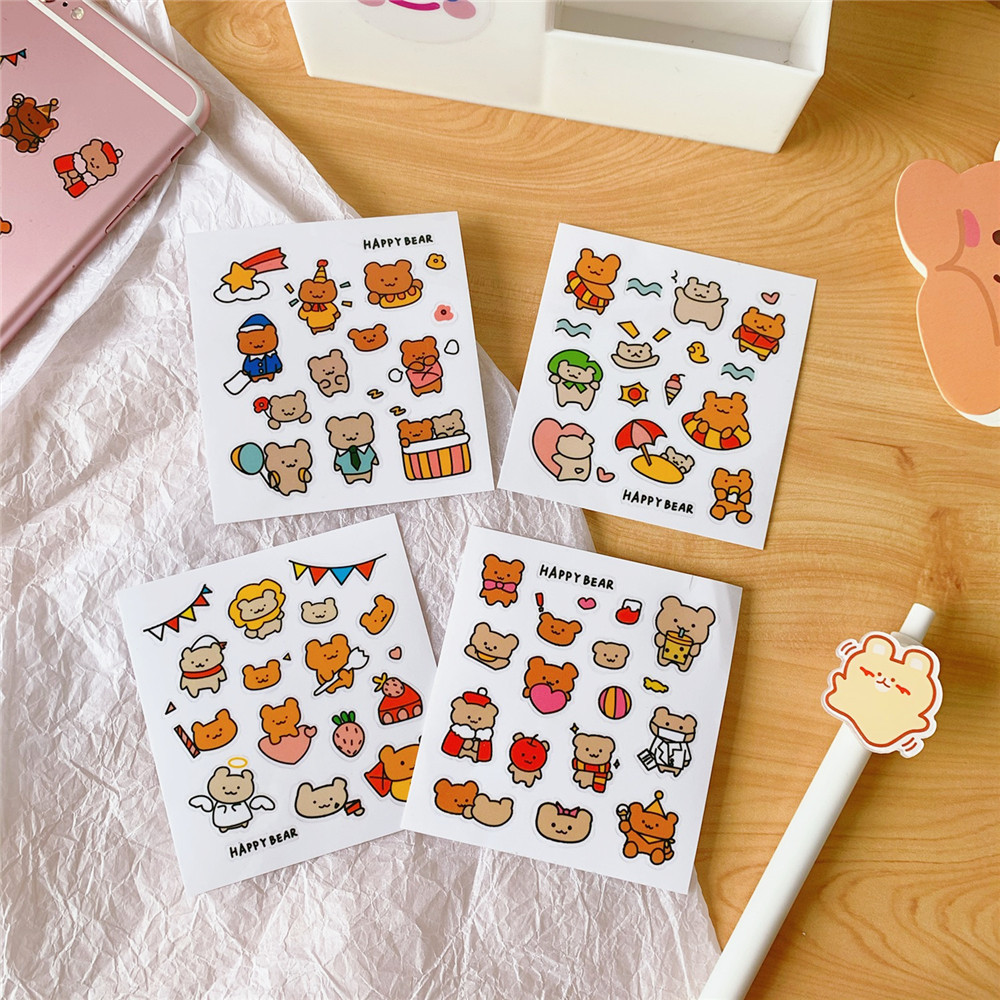 Mohamm 1pack Kawaii Bear Mini Sticker Flakes Scrapbook Paper Sticker Stationery Accessories School Supplies Diary Photos Albums