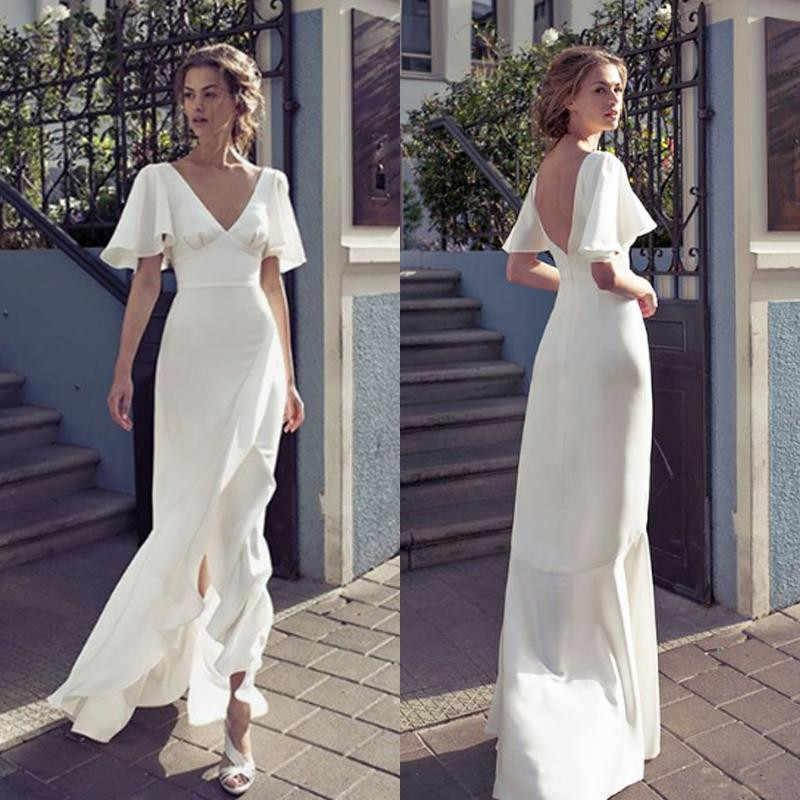 2020 בוהמי V צוואר חתונת שמלות שפתוחה פיצול ללא משענת כלה שמלה מקיר לקיר אורך חתונת שמלות מותאם אישית vestido דה novia