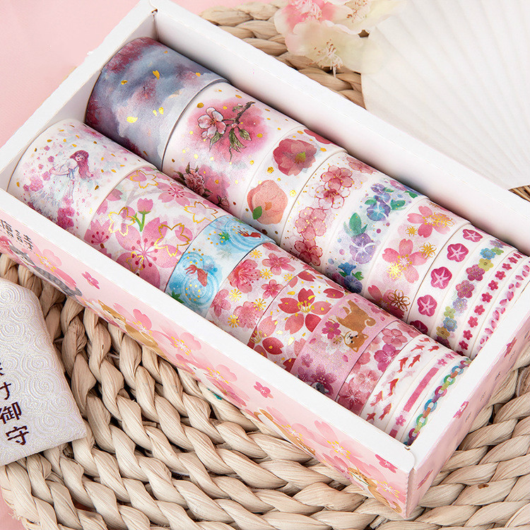 20Rolls Foiling Cherry Blossom Washi Tape Set Diy Craft Masking Scrapbooking Tape Diary Album Stationery School Supplies Gift
