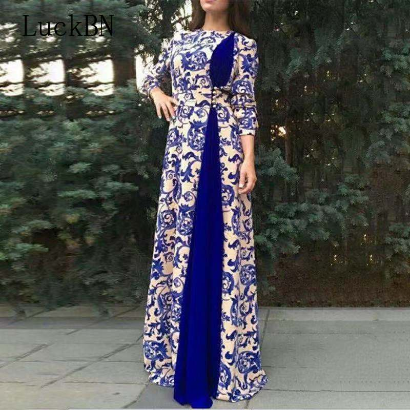 Large Size Women Blue White Porcelain Printing Long Dress 2019 Autumn Fahion Half Sleeve Elegant <font><b>Vestido</b></font> Floor-Length <font><b>Maxi</b></font> Dress image