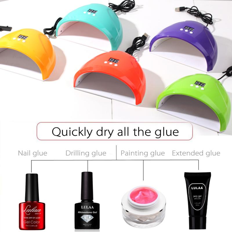 New 7color 36W Nail Dryer Nail Polish <font><b>LED</b></font> <font><b>UV</b></font> <font><b>Lamp</b></font> Nail <font><b>Lamp</b></font> <font><b>UV</b></font> <font><b>LED</b></font> Gel Smart Quick Dry Induction Nail <font><b>Lamp</b></font> USB Charging image