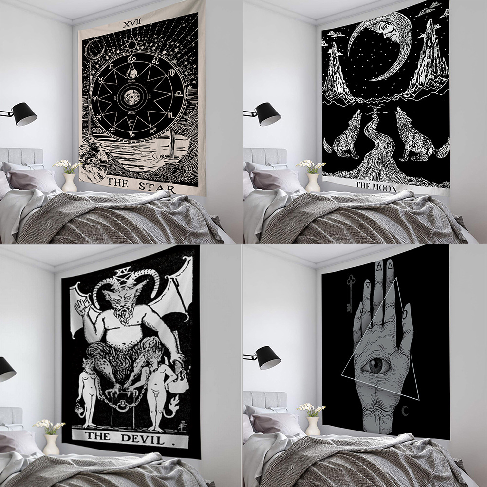 Tarot Sun And Moon Pattern Blanket Indian Mandala Tapestry Wall Hanging Bohemian Gypsy Psychedelic Tapiz Witchcraft Tapestry