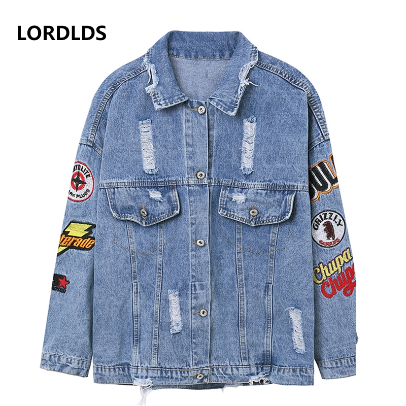 LORDLDS Jeans Jacket Embroidery Casual Women New Harajuk Hole Loose Single-Breasted