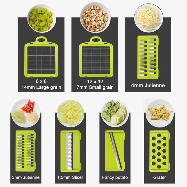 Multifunctional Vegetable Cutter 7Dicing Blades Mandoline Slicer Carrots Peeler Potato Cheese Grater Chopper Kitchen Accessories 3