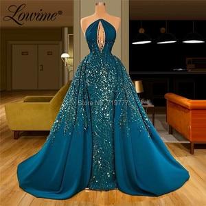 Image 2 - Wunderschöne Kristall Perlen Prom Kleider Abendkleider Saudi Arabisch EINE Linie Abendkleider Robe Soiree Dubai Kleider Frau Party Nacht