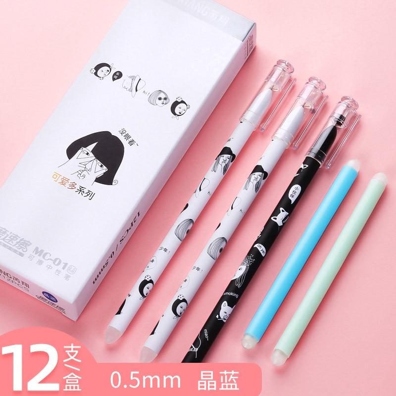 2 Pcs Kawaii Bear Blue Ink Erasable Pen Cute Sakura Gel Pen 0.5mm Novelty Washable Magical Pen For Kids School Stationery