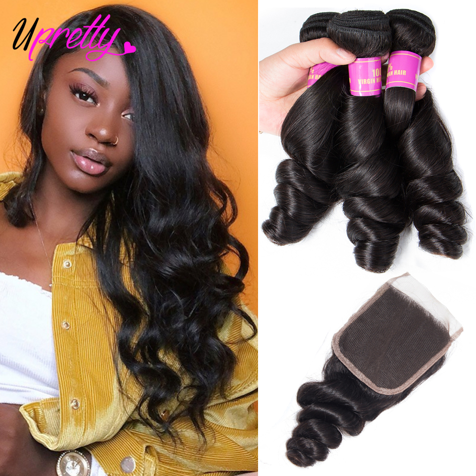 Upretty Hair Loose Wave Bundles With Closure 3 Bundles Brazilian Hair Weave Bundles Loose Curl Human Hair Bundles With Closure