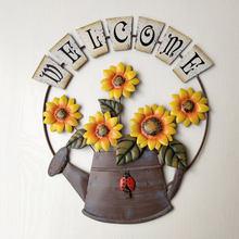 Placa de bienvenida para puerta delantera de jardín, adorno de girasol de Metal Vintage con temática de jardín