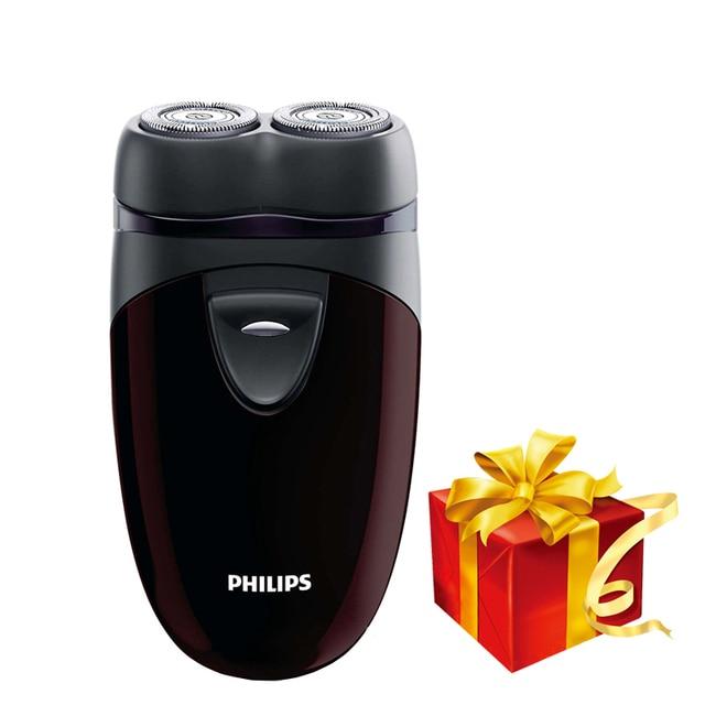 100% 정품 필립스 전기 면도기 PQ206 두 개의 플로팅 헤드 AA 배터리 얼굴 윤곽 추적 남성용 전기 면도기