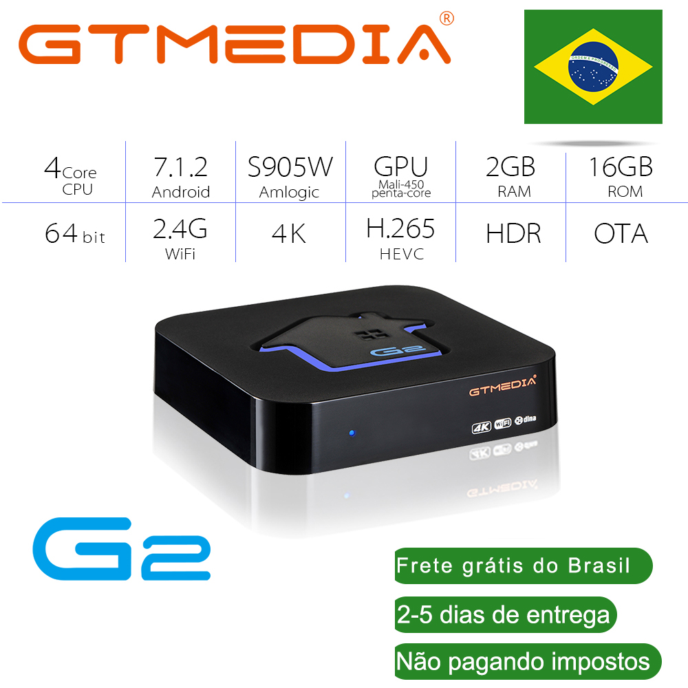 Brazilian GTmedia Android 7.1 Smart TV BOX Amlogic S905W 2+16G TV Box Netlifx 4K HD H.265 2.4G Wifi Media Player TV BOX IPTV M3U