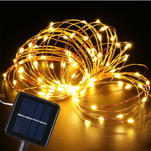 12M Christmas Lamp LED Solar String Light Copper Wire Led Fairy Lights Outdoor Holiday Lighting Garland Decoration Party Wedding dcoo solar led string light 100 light 8 modes fairy lighting garden party christmas holiday outdoor lighting wedding decoration