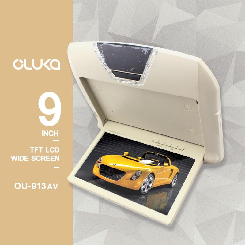 Monitor de coche de 9 pulgadas, reproductor de CD, luces domo, pantalla Digital LCD a Color, montaje en techo, pantalla de vídeo Multimedia, TFT abatible hacia abajo