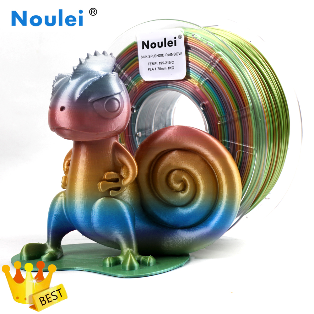 Noulei 3D Printer Filament PLA Silk 1.75mm 1kg Rainbow Multicolor  Silky Shiny Gradually Changing Color Printing Materials