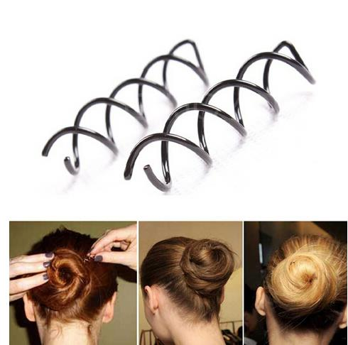 1/5PCS Black Spiral Spin Screw Pin Hair Twist Barrette Women Hairpins Styling Tool
