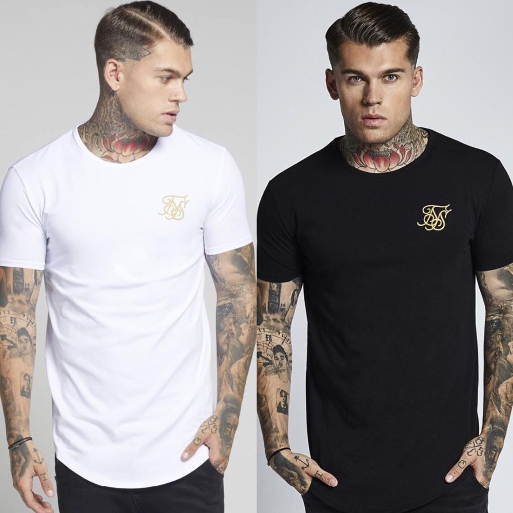 2019 Men Brand Fashion Kanye West Embroidery Sik Silk T Shirt Men Casual Hip Hop Irregular Curved Hem Short Sleeved T-shirts