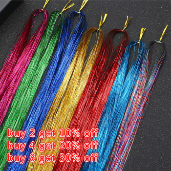 "120 Strands/bag Hair Extension Dazzles Women Hippie for Braiding Headdress Sparkle Shiny Tinsel Silk Colorful Long 36.6"" /93 cm"