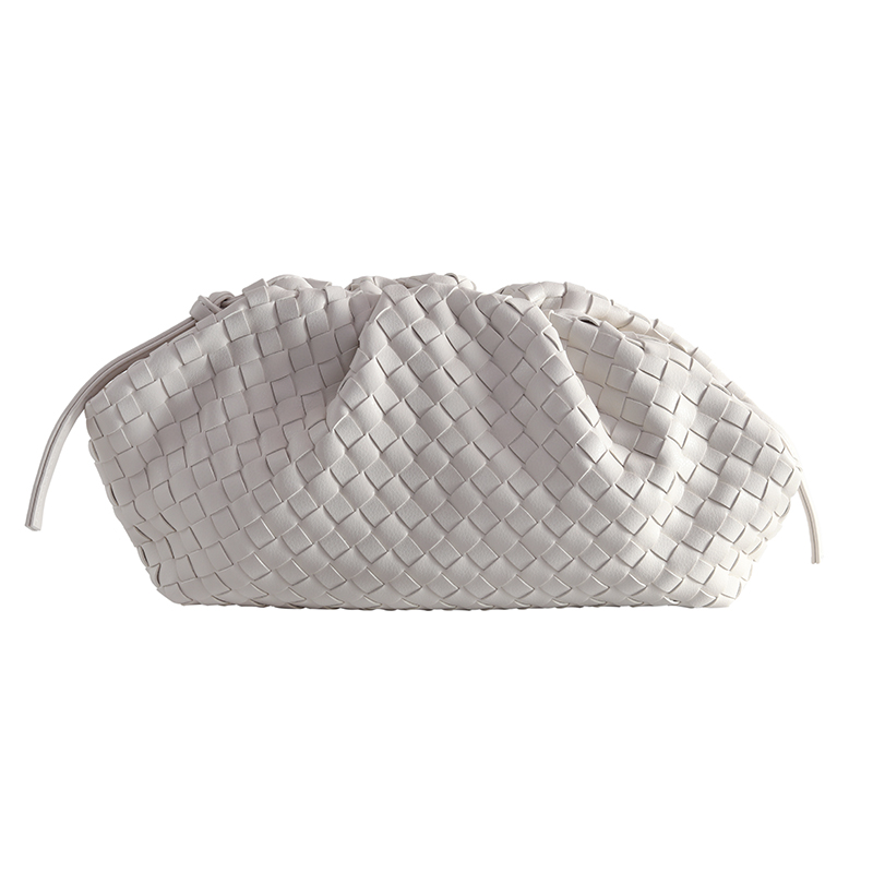 The Pouch Real Leather Woven Envelope Bag Knitting Luxury Women Bags Design Voluminous Rounded Shape Purses And Handbags Clutch