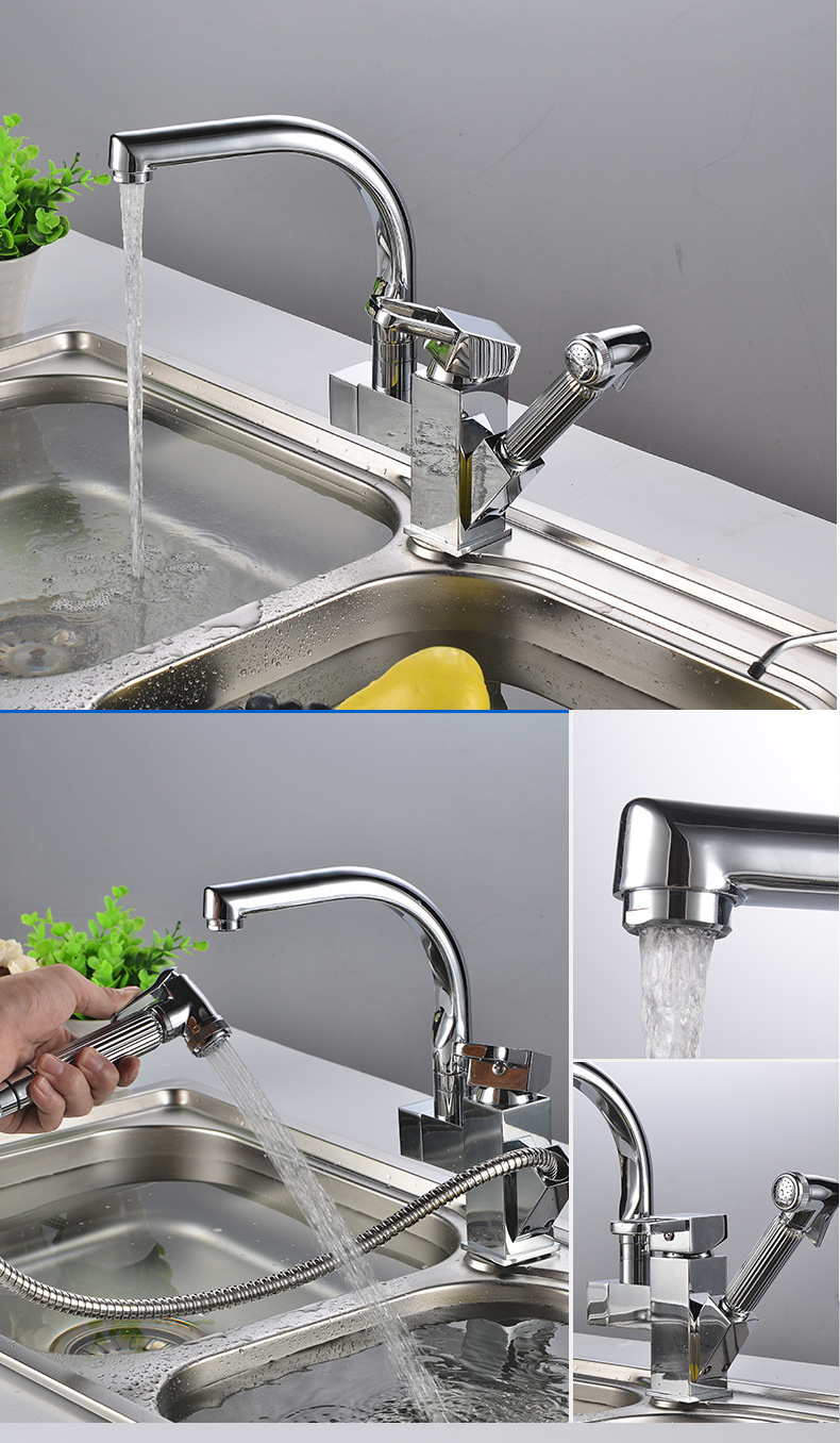 H0e8a3bdadb8d4e369497de8ca66ea0a1J Pull Out 360 Rotation Sink Mixer Washer Household Single Handle Metal Cold and Hot Dishwasher Modern Gold Basin Sink Faucet