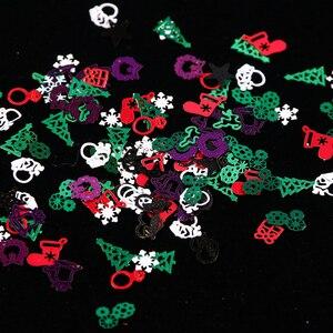 Image 2 - 1 kutu noel tırnak Glitter pul kırmızı yeşil beyaz kar metalik dilim ucu tırnak 3D pullu Rhinestone alaşım süslemeleri BE1046
