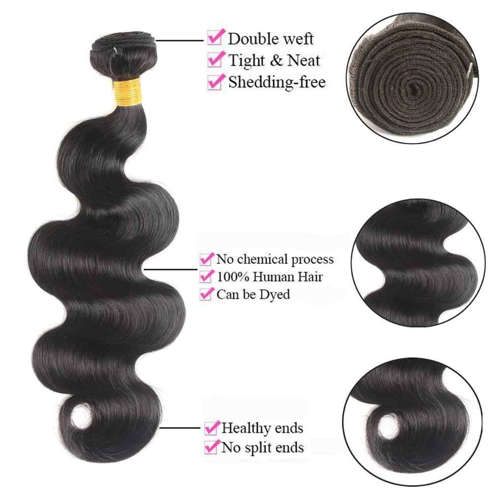 MSH شعر برازيلي جسم موجة نسج على شكل شعر إنسان حزم مع 4*4 دانتيل إغلاق 130% كثافة غير ريمي متوسط نسبة