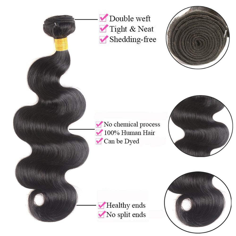 Closeout DealsüMSH Hair Brazilian Body Wave Human Hair Weave Bundles With 4*4 Lace Closure 130% Density Non-Remy Medium Ratio