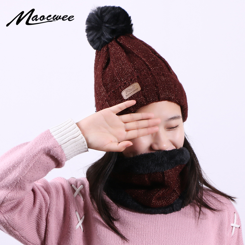 Winter Keep Warm Two-piece Scarf Hat Glove Women Beanie Cap With Skullies Knitted Hats Unisex Elastic Hats Striped Cap Outdoor