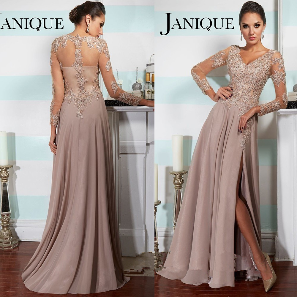 Elegant Long Sleeve Summer Women Evening Gown 2018 Lace Prom Beaded Split V Neck Vestido De Gala Mother Of The Bride Dresses