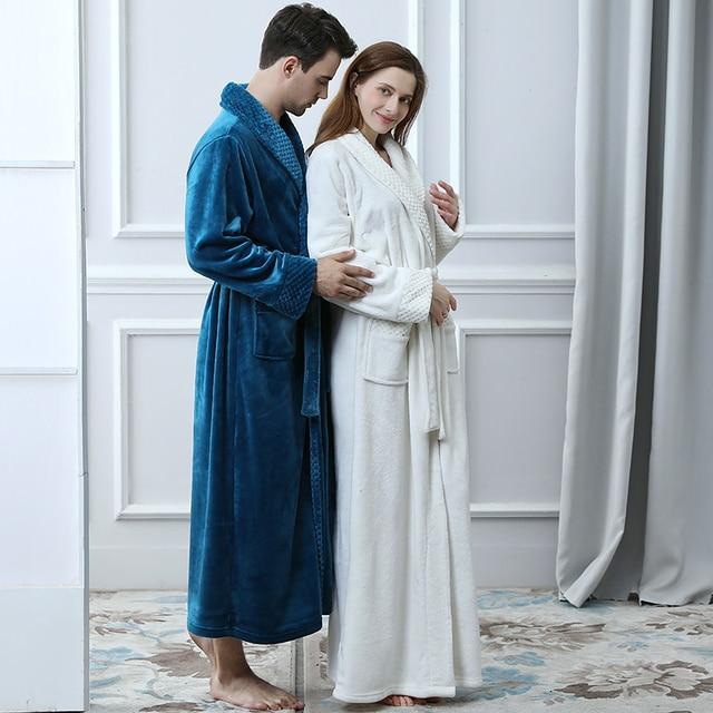 Unisex Thermal Flannel Extra Long Bathrobe 3