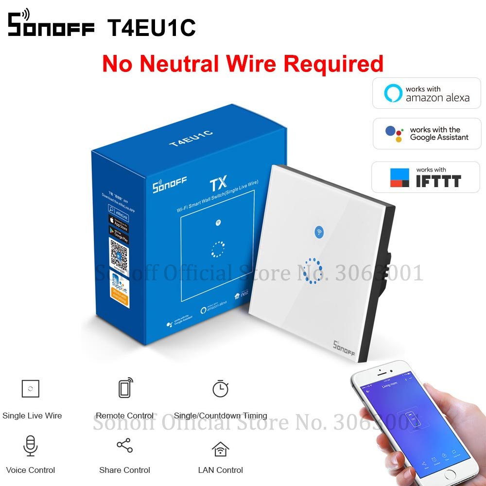 SONOFF T4EU1C Wifi Wall Touch Switch 1 Gang EU No Neutral Wire Required Switches Smart Single Wire Wall Switch Works With Alexa