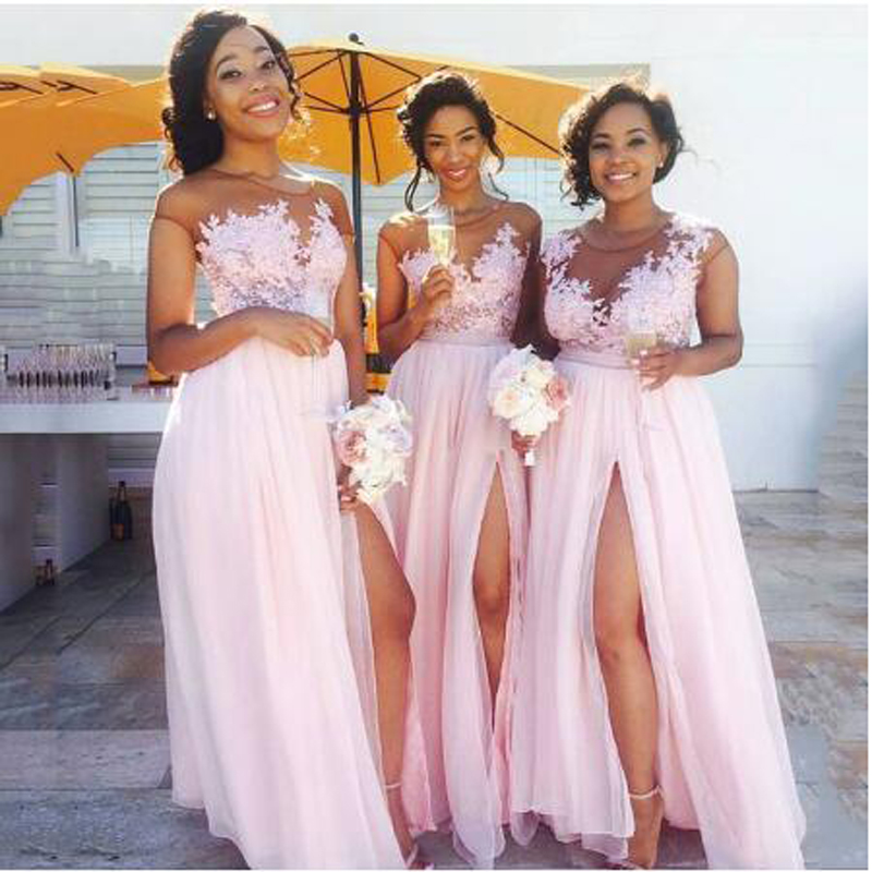Hot   Bridesmaid     Dresses   Long Baby Pink Chiffon A-line   Bridesmaid     Dress   High Leg Split robe demoiselle d'honneur   Bridesmaid   Gowns