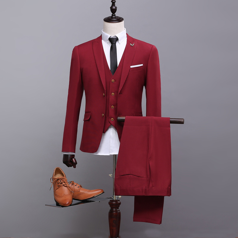 New Men Suits Slim Fit Wine Red Single Breasted Business Suit Wedding Bridegroom Dinner Party Suit (Jacket+Pants+Tie+Vest)  A151