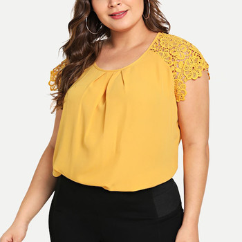 Frauen T-shirt Sexy Floral Aushöhlen Oansatz T-shirt Kurzarm Lose Chiffon frauen Tops blusas mujer de moda 2019 plus Größe