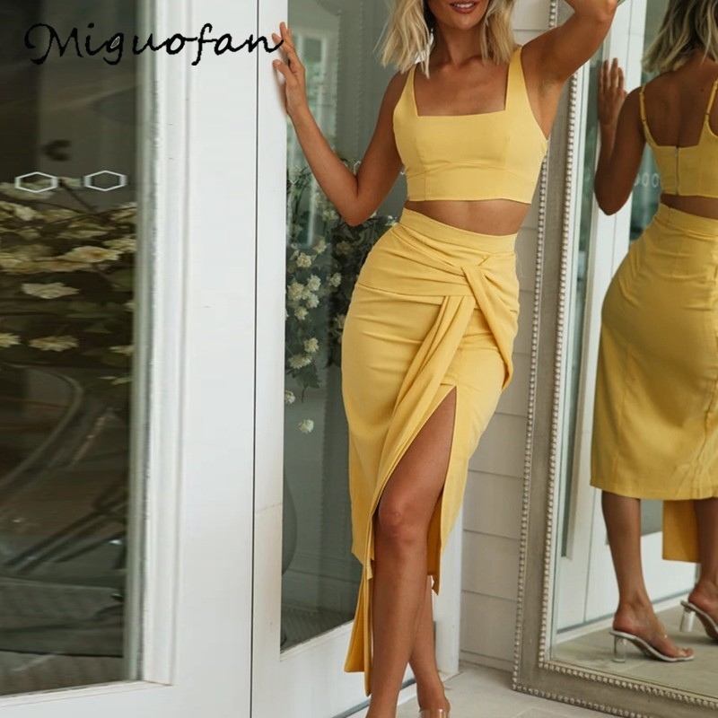 Miguofan Short Tank Camis+long Skirts 2Pieces Set Women Sets Solid Bandage Bodycon Maxi Skirts Summer Sexy Sets Outfits Suit New