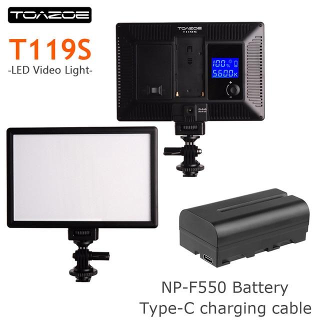 TOAZOE T119S Ultra thin LED Video Light Photography Fill Light 3300K 5600K CRI95+ for Canon Nikon Sony Panasonic DSLR Camera