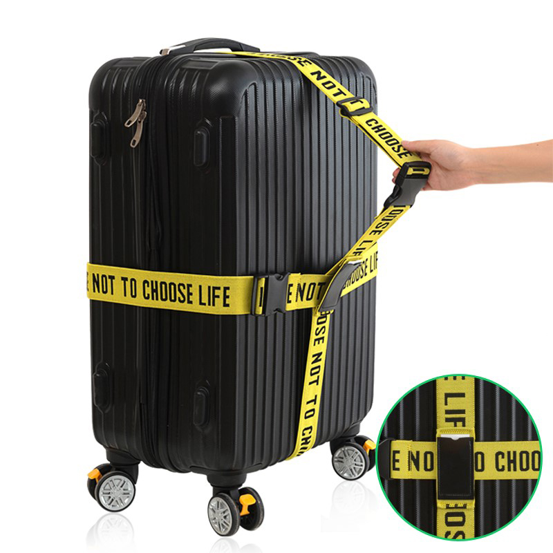 Long Cross Luggage Strap Travel Accessories Cross Belt Packing Suitcase Nylon 3 Digits Password Lock Safe Buckle Strap Belt Tag