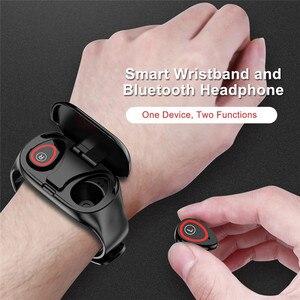 """Image 5 - Spor akıllı saat 0.96 """"M1 AI Bluetooth kulaklık ile nabız monitörü bileklik uzun bekleme süresi kablosuz kulaklık"""
