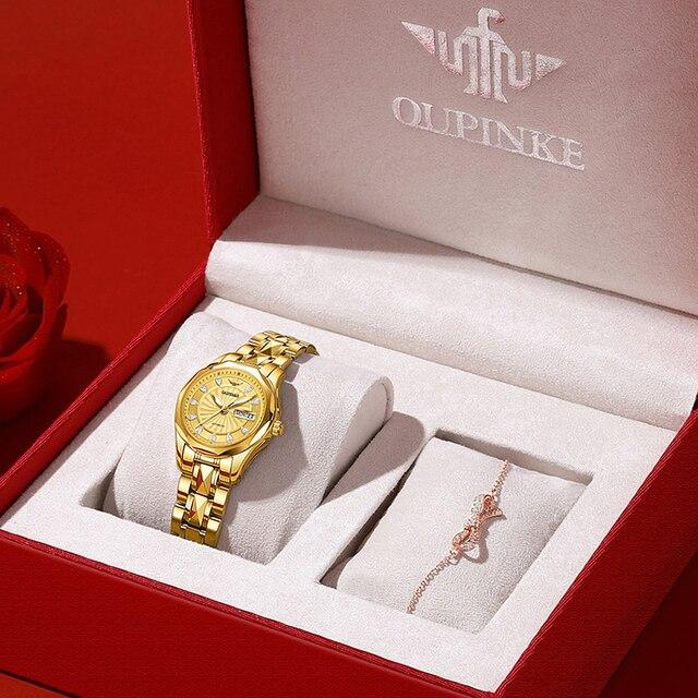 OUPINKE Luxury Gold Mechanical Watch For Women Sapphire Crystal Automatic Watch Ladies Wristwatches Waterproofrelogio feminino 2
