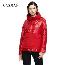 GASMAN 2021 Designer Spring Warm Cotton parka Women Coat Short fashion casual Stand-up Collar hooded Women's Autumn jacket 81070