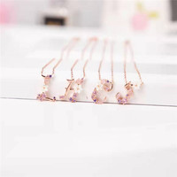 Womem's 26 Letters Rose Gold Color 925 Silver Bells Necklace Fashion Luxury Designer High Quality Sweet Necklaces For Woman