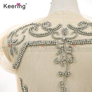 Image 5 - On line di un personaggio famoso argento tessuto di strass corsetto di applique per il vestito da sera pannello WDP 266