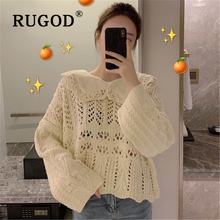 RUGOD Knitted sweater women Korean chic peter pan collar hollow out auturm loose female Fashion long sleleve streetwear