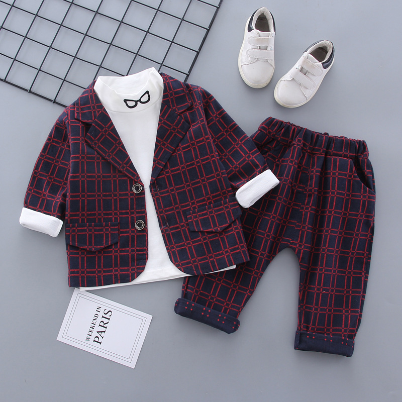 2020 Spring Children Suit Sets Boys Plaid Jackets Pants T-shirts 3pcs Clothing Sets Baby Kids Party Birthday Costume