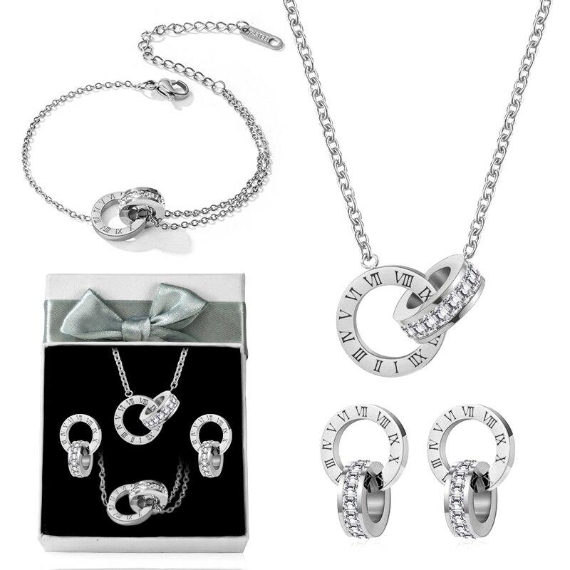 Luxury Elegant Roman Numeral Crystal Necklace Earrings For Women Fashion Stainless Steel Earrings Set 2021 Trend Wedding Jewelry