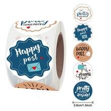 5 projetos bonitos branco feliz post adesivo 1.5 round//38mm redondo obrigado você selo etiqueta para o pequeno negócio presente envelope embalagem decoração
