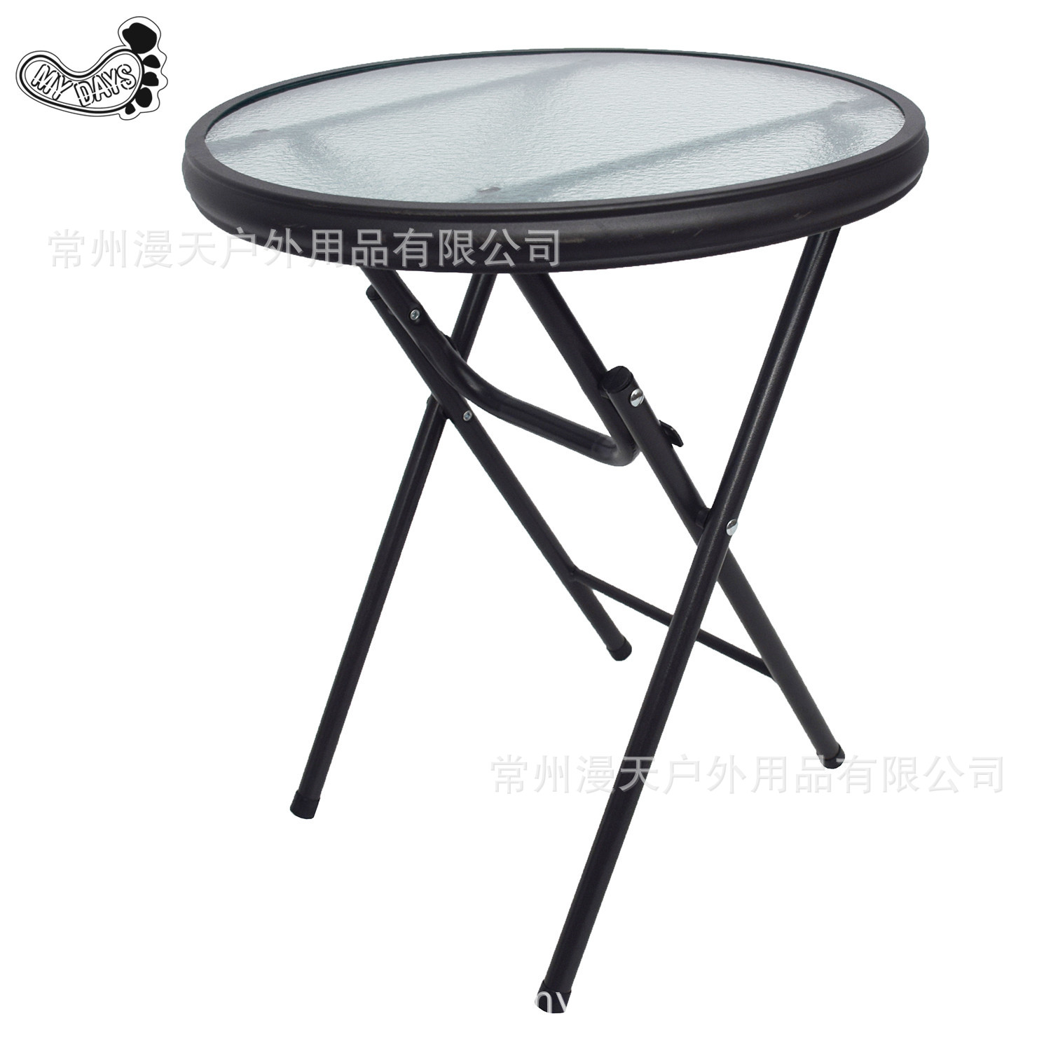 - Outdoor Folding Table Tempered Glass Small Round Table Balcony