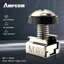AMPCOM M6 x 16mm Rack Mount Cage Nuts, Screws and Washers for Rack Mount Server Cabinet, Rack Mount Server Shelves, Routers