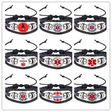 Wholesale 100pcs 16mm Vintage I Have Diabetes Type 1 Diabetic Diabetes Type 2 Medical Alert Leather Bracelet Snap Glass Bracelet