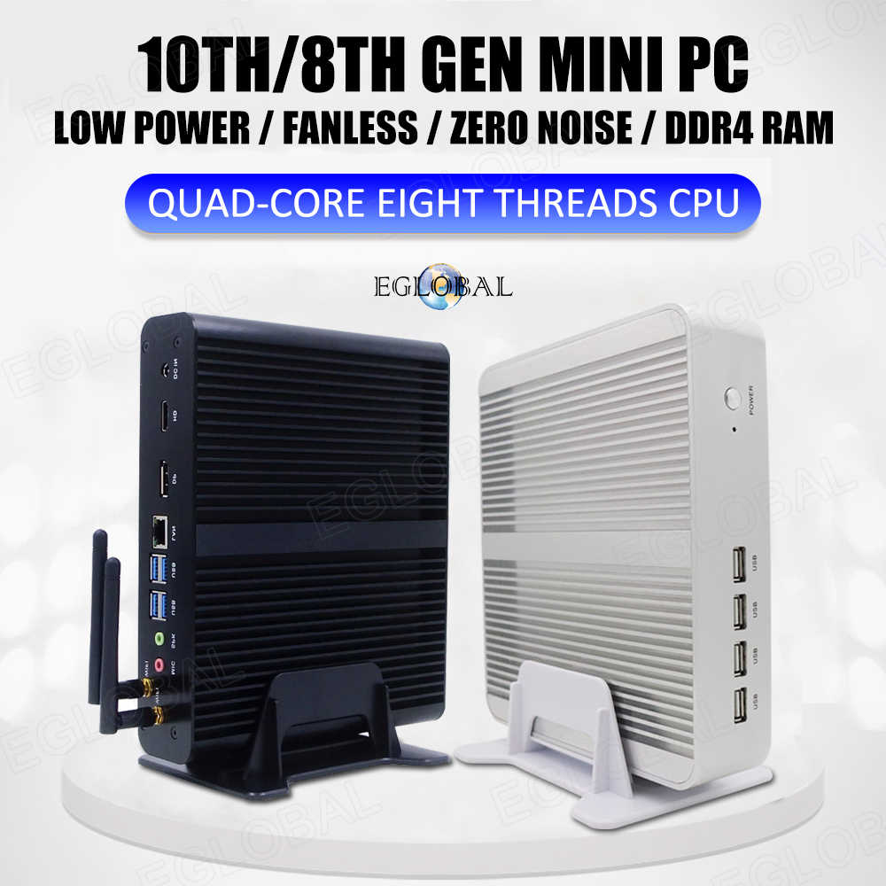 Eglobal fanless mini computador intel i7 10510u i7 8565u i5 8265u 2 * ddr4 msata + m.2 pcie mini pc windows 10 htpc nuc vga dp hdmi